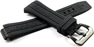 26MM Black Silicone Watch Strap Stainless Black Buckle fits 44mm Trimix Diver Watch