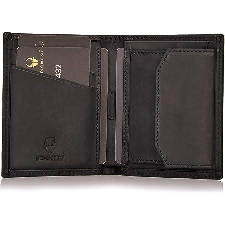 DONBOLSO® Rom I Mini-Portefeuille avec Protection RFID I Portefeuille Mince avec Compartiment à Monnaie I Cuir véritable I Portefeuille en Noir Vintage