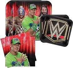 "Grand Slammin' WWE Birthday Party Bundle 9"" Plates (16) 7"" Plates (16) Lunch Napkins (16)"