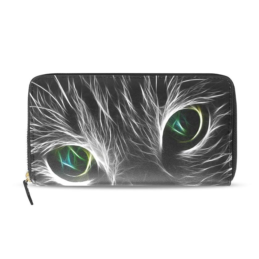 パリティ輝く便利さマキク(MAKIKU) 財布 長財布 レディース 大容量 革 ラウンドファスナー ウォレット PUレザー コインケース カード12枚収納 プレゼント対応 かわいい 猫柄 猫顔 ブラック