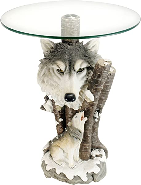 OK Lighting Animal 24 H Glass Top Color Sculpture End Table Wolf