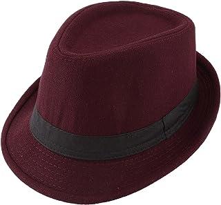 Unisex Classic 20s Manhattan Cotton Twill Herringbone Trilby Fedora Hat Band Casual Jazz Wool Cap