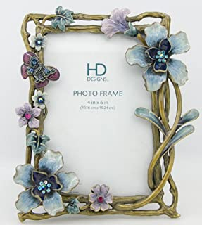 ChezMax International Designs Colorful Flower Pattern Metal Photo Frames Friends Gift Picture Frame Table Top Frame 5.5