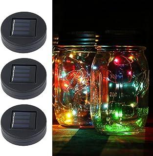 KOBWA イルミネーションライト ストリングスライト ガラスソーラーライト Mason Jar メイソンジャー 20 LED ライト ソーラー充電可能 ライブ応援グッズ 装飾用 インテリア クリスマス パーティー 3点セット カラフル ビンは付属しません