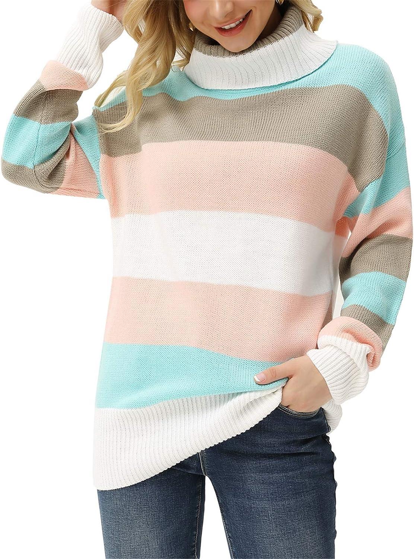 GRACE KARIN Women's Colorblock Striped Turtleneck Sweater Long Sleeve Knit Pullover