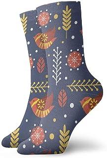 tyui7, Calcetines de compresión antideslizantes de patrón popular escandinavo lindo y plano Calcetines deportivos de 30 cm acogedores para hombres, mujeres y niños