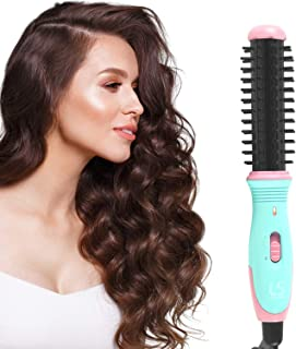 Kuron Store LESASHA Mini Sassy Brush Easy Volume And Curl Hot Hair Comb, Electric Iron Brushes Hair Styling Volumizer Wand Ceramic Coat Fast Heating Thermal Portable Curler Roller, Black Blue & Pink