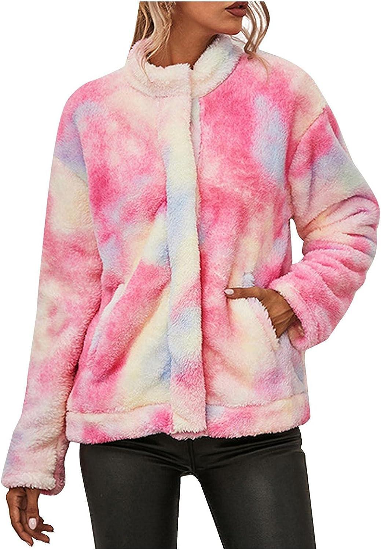 Misaky Winter Women Long Sleeve CoatButton Down Lapel Tie-dye Printed Plush Jacket Coat Outwear