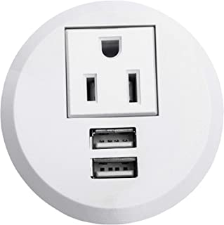 Desktop Power Grommet USB Outlet 2 Inch Hole Desk Grommet Power Outlet Build-in 1 US Standard Outlet and 2 USB Charging Station with 6.56 FT Extension Power Cord for Office Home Furniture Hotel