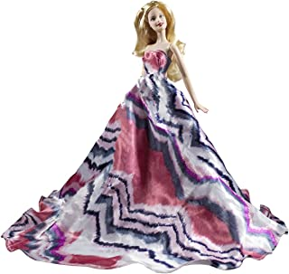 Peregrine Pink & Black Chevron Pattern Stripes Style Silk Ball Gown for 11.5 inches Dolls