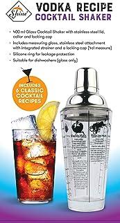 SHINE Glasrezept Cocktail Shaker, Edelstahl, 400ml VODKA oder GIN VODKA