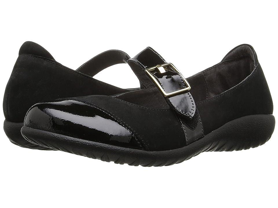 Naot Kihi (Black Velvet Nubuck/Black Patent Leather) Women