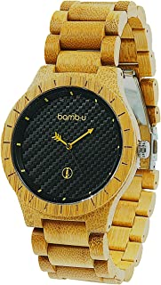 Lanta - Premium Bamboo Watch, 100% Genuine Original Australian Designed Wooden Watch, Easy to Remove Links, Citizen 2035 Miyota Movement, Toughened Scratch Resistant Mineral Glass, Oil Pressed Black Carbon Fibre Style Face, Handcrafted, carbonised A-Grade bamboo band and case, 1-yr Warranty