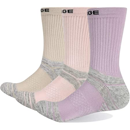 YUEDGE 3 Pairs Women's Hiking Walking Socks Breathable Cotton Cushion Casual Athletic Sports Crew Socks 4-11