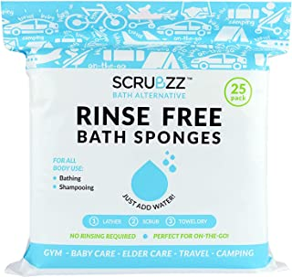 Best Scrubzz Disposable No Rinse Bathing Wipes - 25 Pack - All-in-1 Single Use Shower Wipes, Simply Dampen, Lather, and Dry Without Shampoo or Rinsing Review