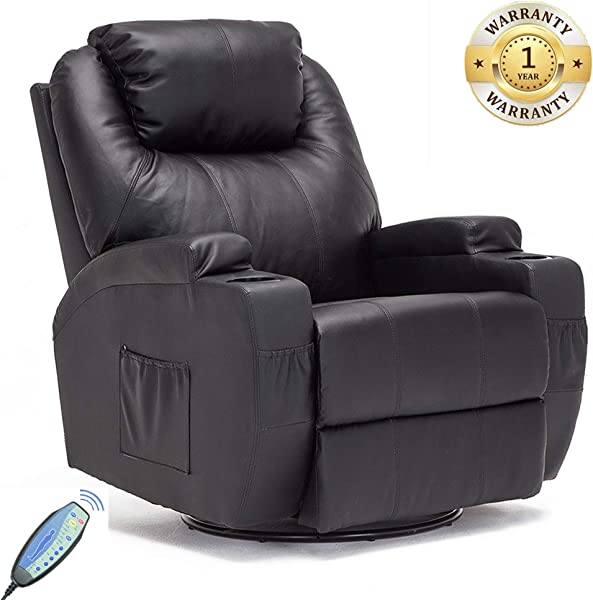 Massage Recliner Chair 360 Degree Swivel And Heated Recliner Bonded Leather Sofa Rocking Chair With 8 Vibration Motors Black