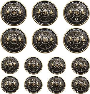 YaHoGa 14 Pieces Antique Metal Buttons 15mm 20mm Blazer Buttons Set for Blazers, Suits, Sport Coat, Uniform, Jackets (MB20...