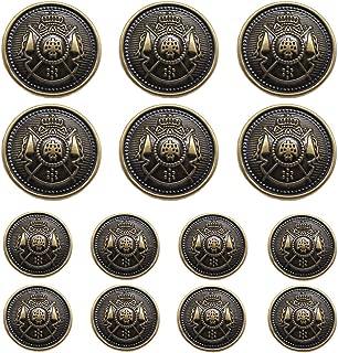 YaHoGa 14 Pieces Antique Metal Buttons 15mm 20mm Blazer Buttons Set for Blazers, Suits, Sport Coat, Uniform, Jackets (MB20170)