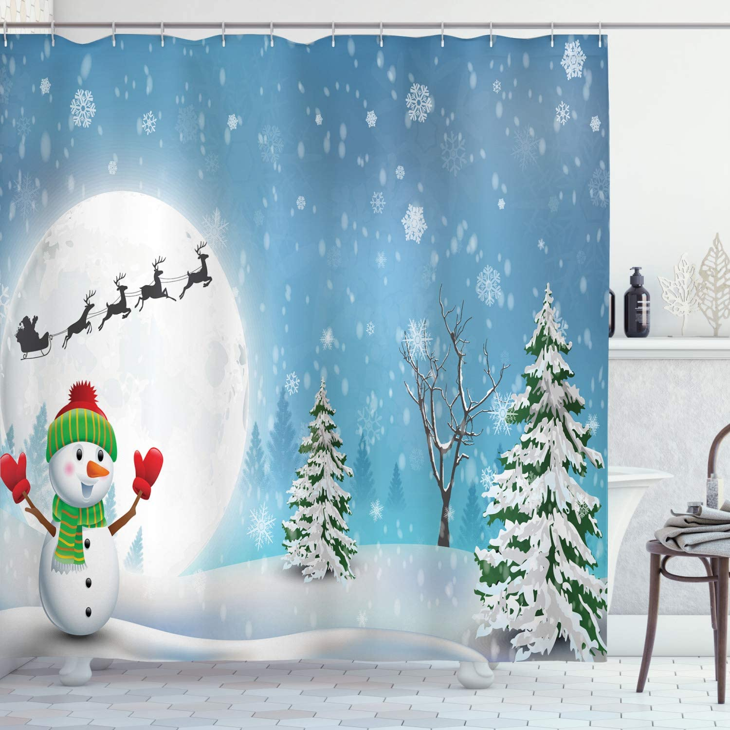 All items free shipping Ambesonne Christmas Shower Curtain Jolly Full Snowman Moo Under Max 41% OFF