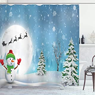 Ambesonne Christmas Shower Curtain, Jolly Snowman Under Full Moon Waving to Santa Claus with Reindeer Sleigh Kids, Cloth Fabric Bathroom Decor Set with Hooks, 70