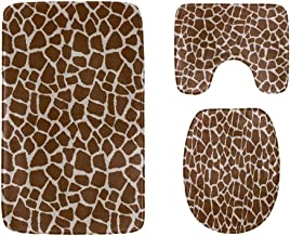 Giraffe Repeating Brown White Bathroom Rug Mats Set 3-Piece,Soft Shower Bath Rugs,Contour Mat and Toilet Seat Lid Cover No...