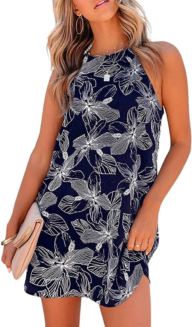XCHQRTI Womens Halter Floral Printed Limited Special Price Beach Sleeveless Casua Mini Bargain
