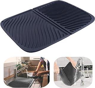水切りマット 食器 乾燥用マット 速乾 食器 収納 断熱マット 滑り止 吊ることができ 大判シリコン 水切りマット (ブラック)