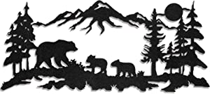 Laser Cut Deer Metal Signs for Outdoors Mountain Scene Monogram Black Deer or Bear Hunting Decor Forest Pine Tree Metal Wall Decor for Living Room, Bedroom, 11.8 x 6.9 Inch (Bear Style)