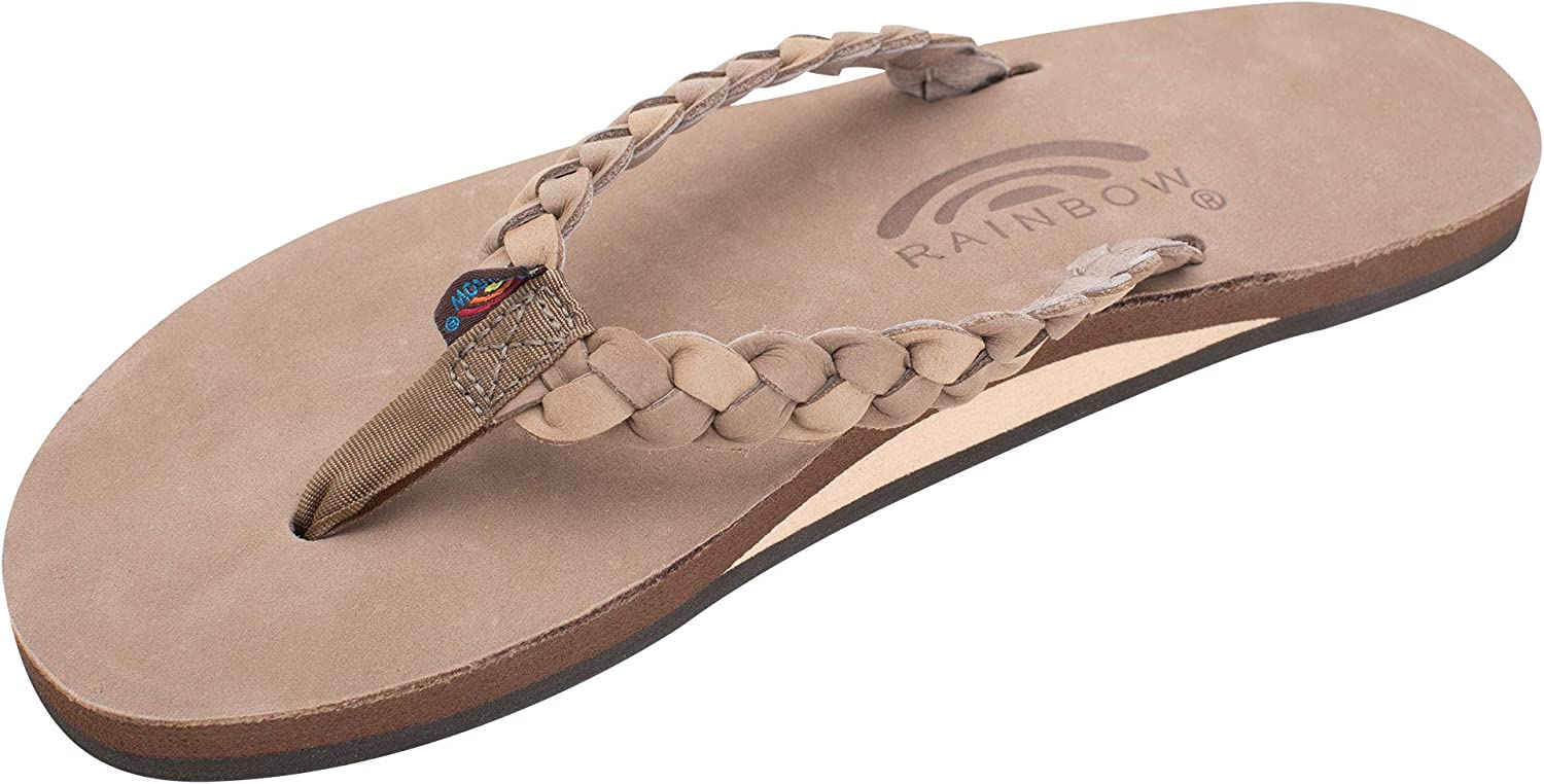 Rainbow Sandals Women's Single Layer Leather w/Double Braided Strap
