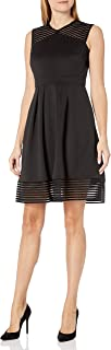 Sandra Darren Women's 1 Pc Extended Shoulder Shadow Stripe Techno Stretch Dress