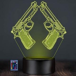HPBN8 Ltd Créatif 3D Pistolet Nuit Lampe Art Déco Lampe LED 3D Lampe Contrôle à distance 7/16 Couleurs Change Veilleuse US...