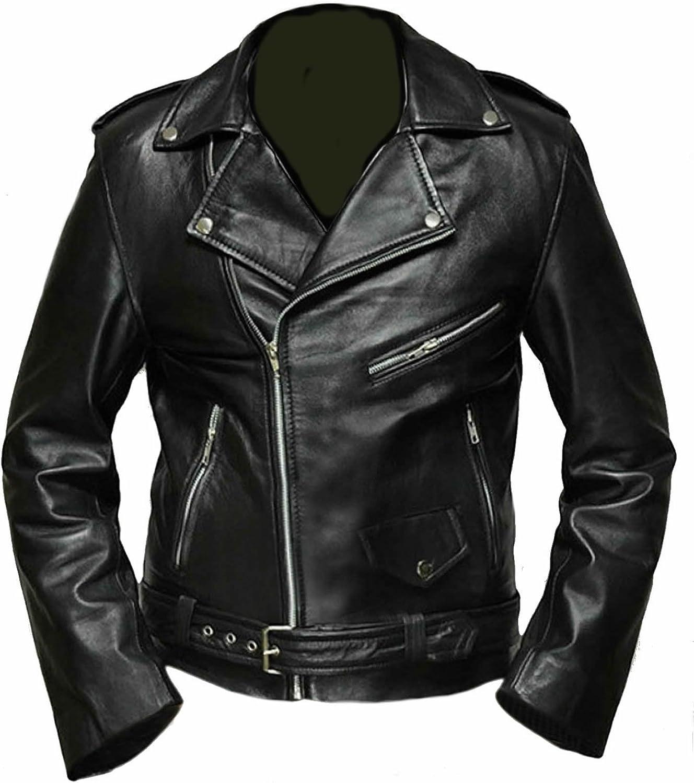 Classyak Leather Biker Jacket Black Terminator. Premiere Quality Leather, Xs-5xl