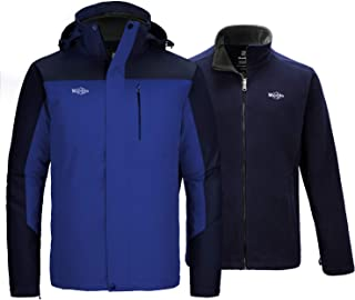 Men's 3 in 1 Waterproof Ski Jacket Winter Interchange Jacket Rain Coat