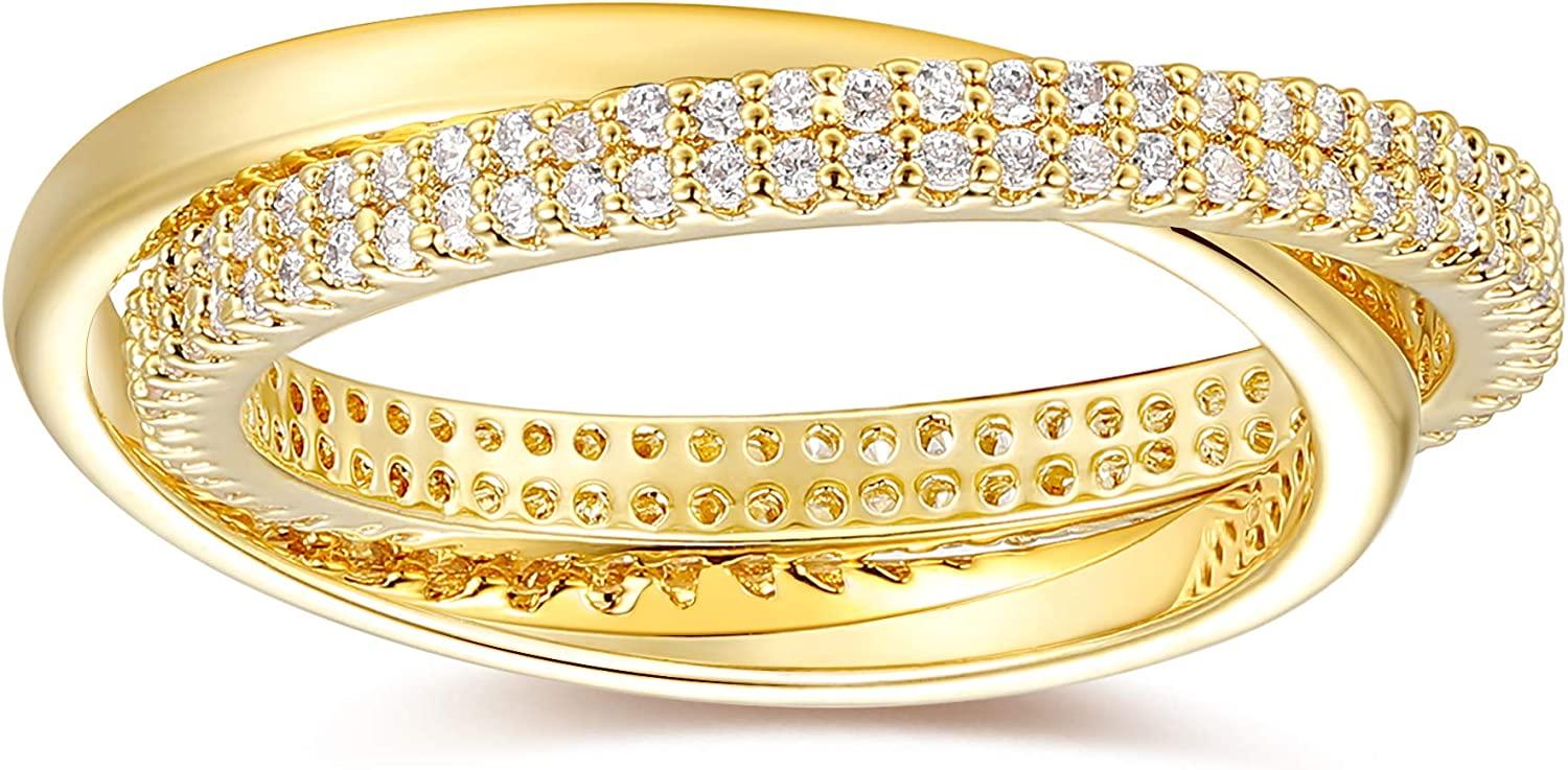 BLOSSOM & HUE Interlocking Circles Ring   18K Solid Plated   Gold X Ring   Double Gold Ring for Women