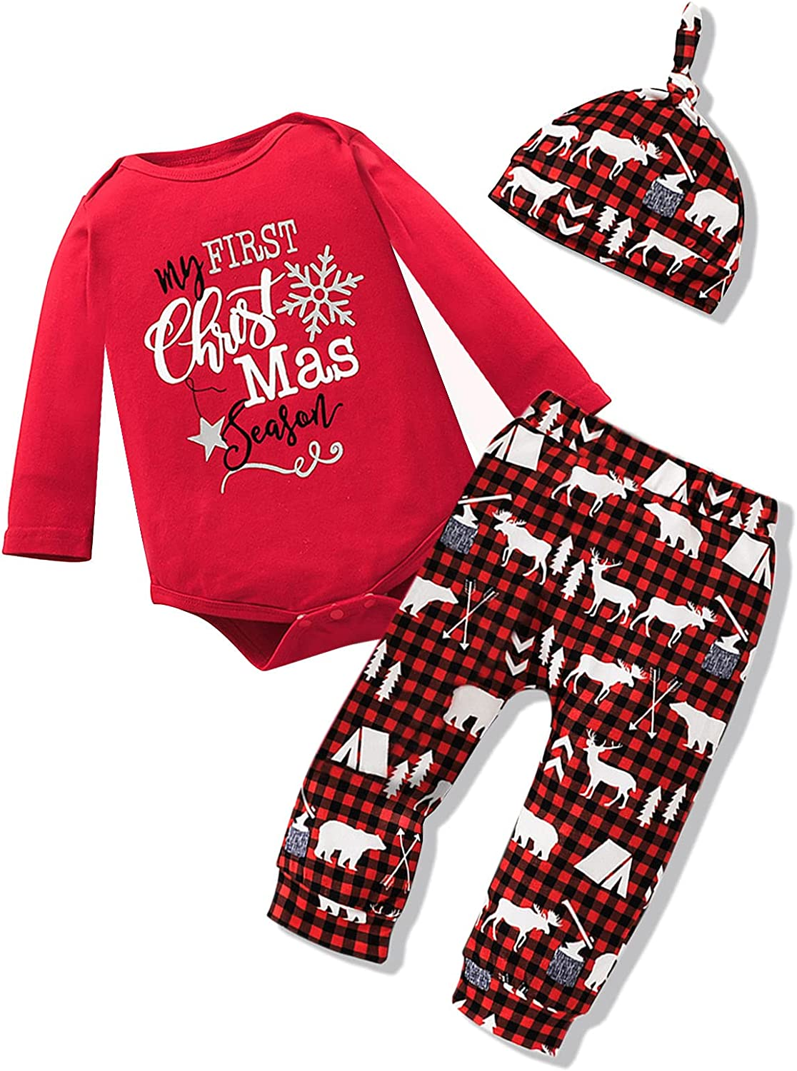 My First Christmas Baby Boy Outfit Newborn Boy 1st Christmas Clothes Long Sleeve Romper Reindeer Plaid Pants Hat 3Pcs