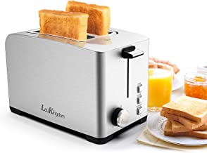Toaster, Laukingdom Toasters 2 Slice Best Rated Prime With Stop, Bagel, Defrost Function, Extra Wide Slot Compact Stainless Steel Toasters for Bread, Bagel, Removable Crumb Tray.