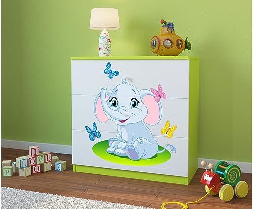 tomamos a los clientes como nuestro dios CARELLIA Cómoda Infantil Elephant Elephant Elephant 3cajones verde  más orden