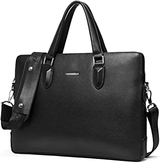 BOSTANTEN Leather Briefcase Shoulder Laptop Business Bag for Men Black