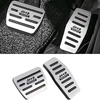 No Drill Gas Brake Pedal Compatible with Jeep Cherokee, Jaronx Aluminum Alloy Anti-slip AT Accelerator Pedal Covers Brake ...