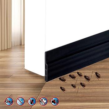 Tira de Sellado de la Puerta Inferior, Burlete Bajo Puerta, Burlete Autoadhesivo de Goma de Silicona, Aislamiento Acústico/a Prueba de Viento/Anti-bug de Sellado, 5x100cm (Negro): Amazon.es: Bricolaje y herramientas