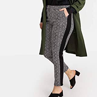 Castaluna Womens Printed Slim Fit Trousers With Side Stripes, Length 28.5