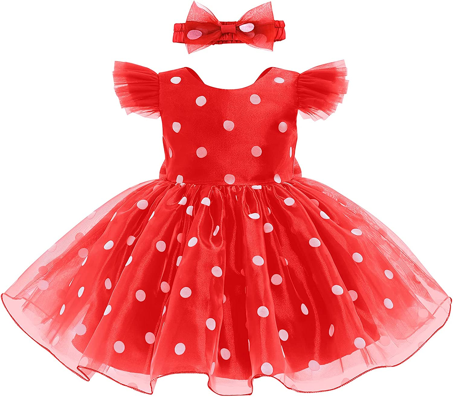 OBEEII Girls Party Dress Polka Dot Bowknot Ruffled Short Gown Wedding Birthday Pageant Special Occasion