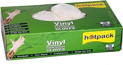 Hotpack Powdered Disposable Vinyl Gloves -Medium, 100Pcs