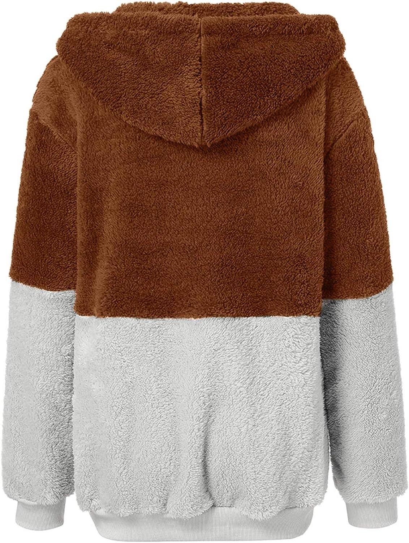 Lovor Women's Drawstring Patchwork Hoodie Fuzzy Fleece Sweatshirt Zipper Teddy Coat Cozy Outwear Hooded Pullover with Pockets