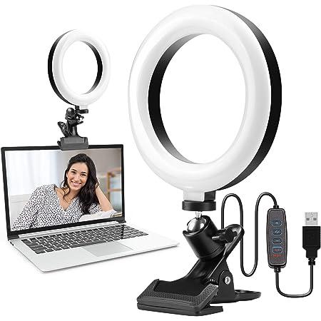 10 Levels of Brightness for Portrait YouTube Video Makeup Selfie Light with Clamp 6.3 LED Ring Light Photo Video LED Lighting Kit Vlog Ring Light 3 Dimmable Color