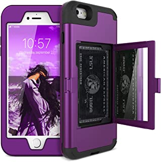 iPhone 6/6s Wallet Case - WeLoveCase Defender Wallet Design with Hidden Back Mirror and Card Holder Heavy Duty Protection Shockproof 3 in 1 All-Round Armor Protective Case for iPhone 6 6S - Purple