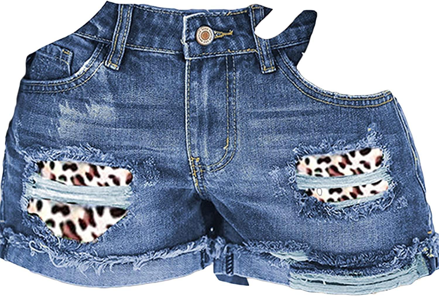 Womens Ripped Patchwork Jean Shorts Mid Rise Baggy Cuffed Holes Denim Shorts Casual Destroyed Rolled Hem Short Jeans