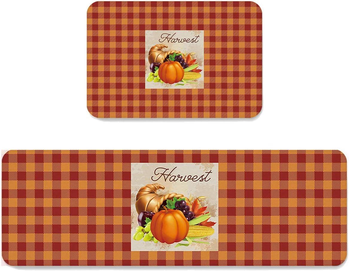 ARTSHOWING Anti Fatigue Kitchen Rugs Ranking TOP5 2Piece Set Very popular Wa Thanksgiving