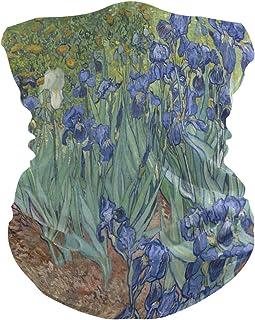 AUUXVA Van Gogh Iris Flower Windproof UV Protection Face Mask Bandanas Head Scarf Washable Neck Gaiter Headband for Women ...