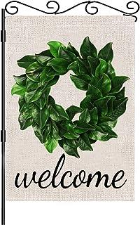 """""""FADDA Garden Flag, Welcome Wreath Small Garden Flag, Double Side Summe Garden Flag, House, Yard, Farmhouse Decorative Burlap Outdoor Garden Flag""""."""